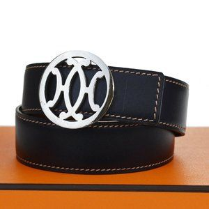 HERMES Double H Reversible Buckle Belt Leather #67